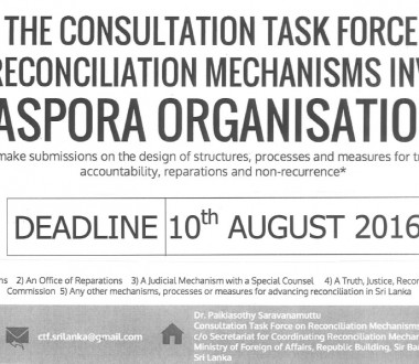 The Consultation Task Force on Reconciliation Mechanisms invites Diaspora Organizations
