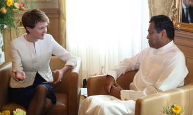 Ambassador Karunatilaka Amunugama presented letter of credence to the President of Swiss Confederation Simonetta Sommaruga